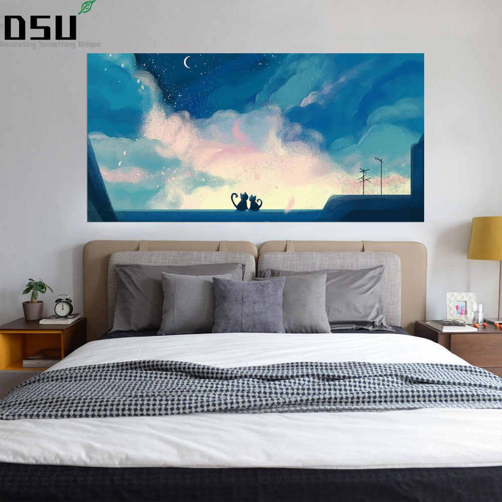 3D креативный Кот и картина с Луной стенка изголовья Наклейка на стену Декор кровати дети спальня обои для дома