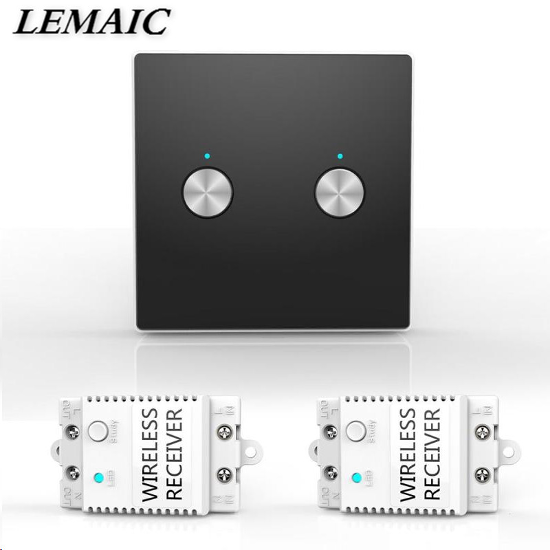 LEMAIC Wireless 2CH 433MHz RF Remote Control Light Switch Kit Receiver Module 100ft for House Lighting No Wiring No App Required 2ch 5v wireless remote control light switch receiver relay module 433mhz rf on off switches for lamp light motor gaage door