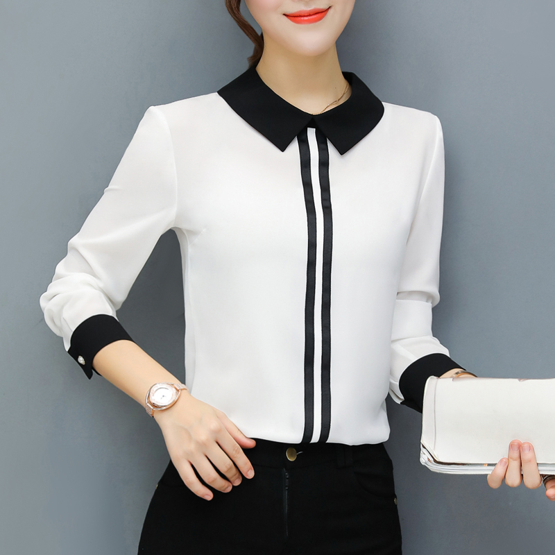 Spring Summer   Blouses   Women's Tops Office Work Elegant Chiffon   Shirts   Red Slim   Blouse   Casual Long Sleeve Plus Size White   Shirt