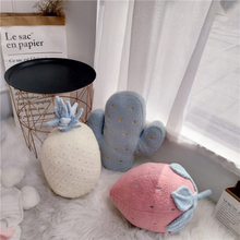 Cute Plush Cushion for Child Creative Embroidery Toy Pineapple Strawberry Cactus Shape Cushions Soft Pillow Kid Gifts