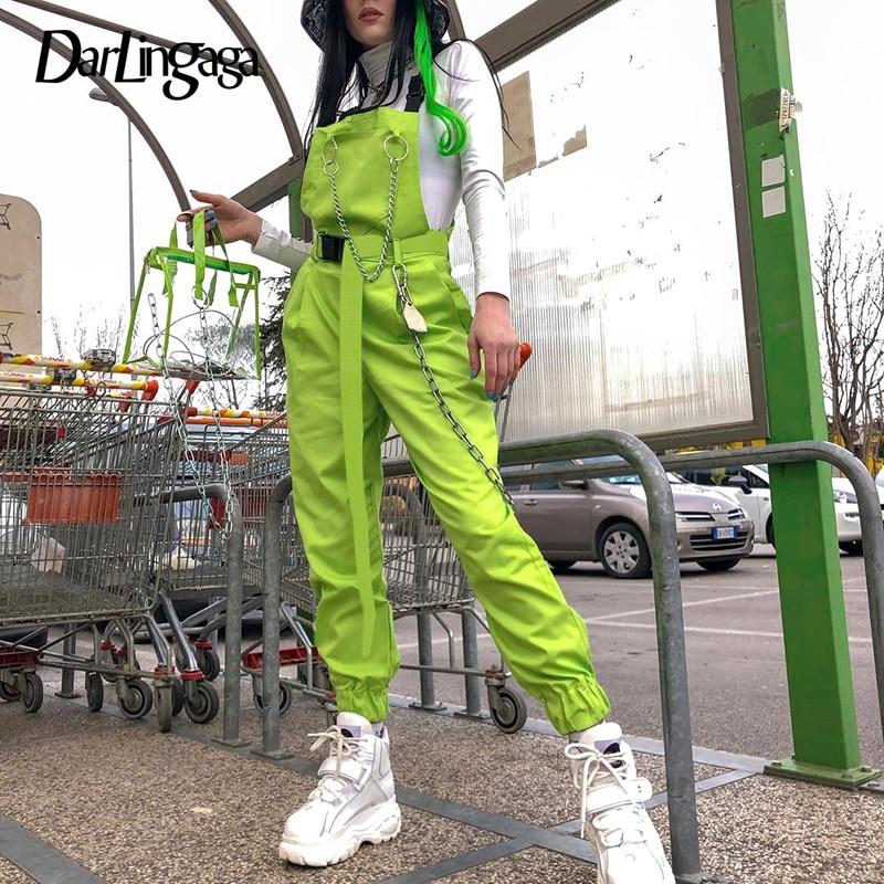 Darlingaga Streetwear neon green summer jumpsuit romper women overalls chain elastic waist neon jumpsuits 2020 fashion playsuit