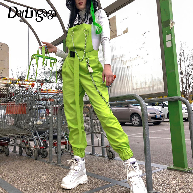 Darlingaga Streetwear neon green summer   jumpsuit   romper women overalls chain elastic waist neon   jumpsuits   2019 fashion playsuit