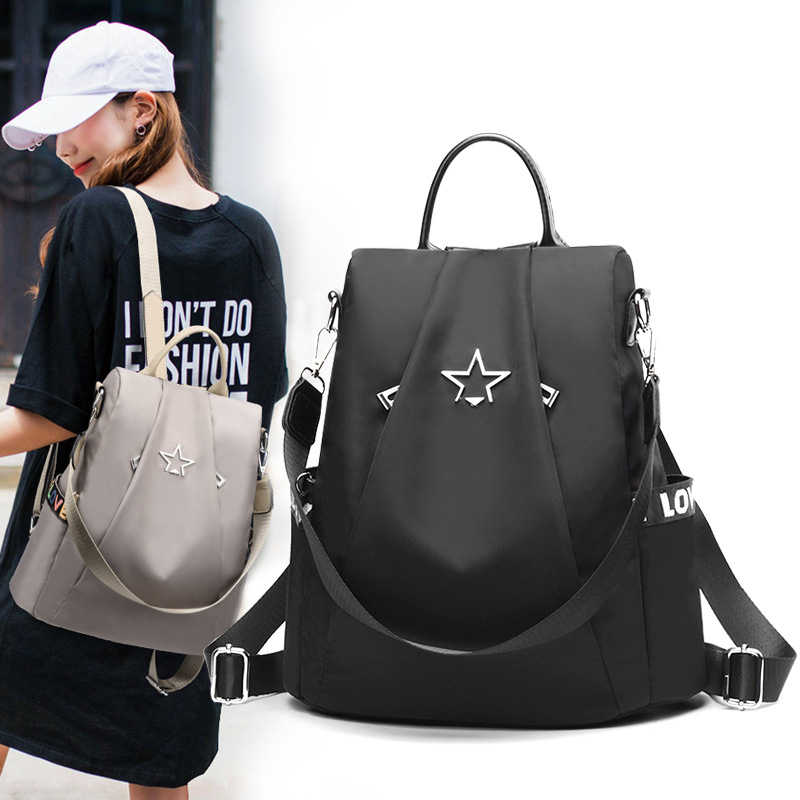 6567c484fa5 AOEO backpack female Korean version Girls 2018 new bag fashion stars Oxford canvas  bags college antitheft