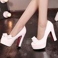 Новые Моды для Женщин Насосы Лакированной Кожи Закругленным Носком Бантом 11 см Высокие Толстые Каблуки Красный Нижней Платформе Сексуальные Вечернее Платье обувь