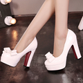 New Fashion Women Pumps Patent Leather Rounded Toe Bowknot 11cm High Thick Heels Red Bottom Platform Sexy Party Dress Shoes