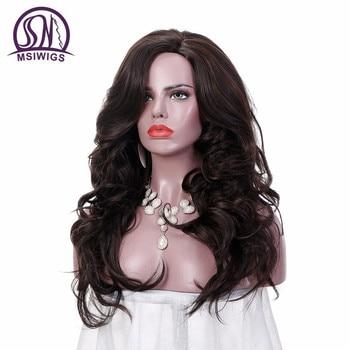 MSIWIGS 24 Pouces Longs Ondulés Perruques pour les Femmes Brun Foncé Ombre Synthétique Perruque avec Filet À Cheveux Libre Naturel Plein Cheveux Chaleur résistant