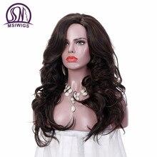 MSIWIGS 24 tum långa vågna peruker för kvinnor Dark Brown Ombre Syntetisk peruk med gratis hårnät Naturligt helt hår värmebeständigt