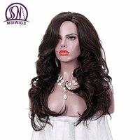 MSIWIGS 24 Polegadas Perucas Onduladas Longas para Mulheres Marrom Escuro Ombre Sintética Peruca com Hairnet Livre Natural do Cabelo Cheio de Calor resistente