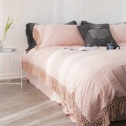 100% хлопковый комплект постельного белья для близнецов, королевского размера, Комплект постельного белья с кистями, пододеяльник, простыня/...