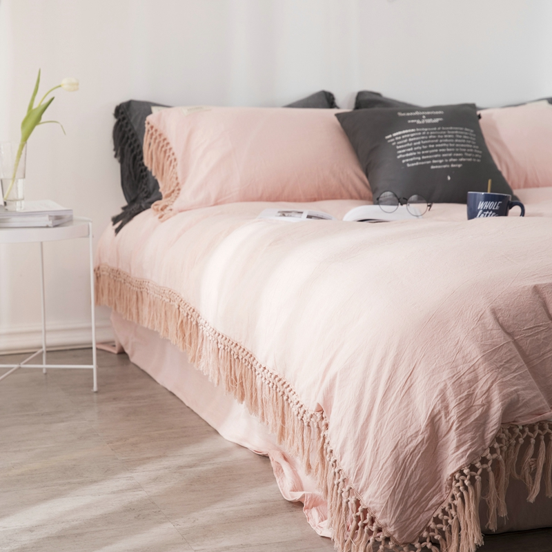 100% Cotton Bedding Set Twin Queen King Size Bed Set With Tassels Duvet Cover Bed/Fitted Sheet Parrure De Lit Ropa De Cama
