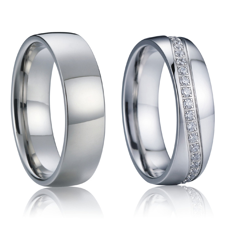 1 pair wedding band set cz jewelry rings for