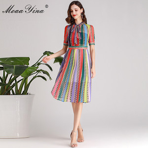 Image 4 - MoaaYina Fashion Designer Runway dress Spring Summer Women Dress Bow collar Short sleeve Colorful Stripe Dresses