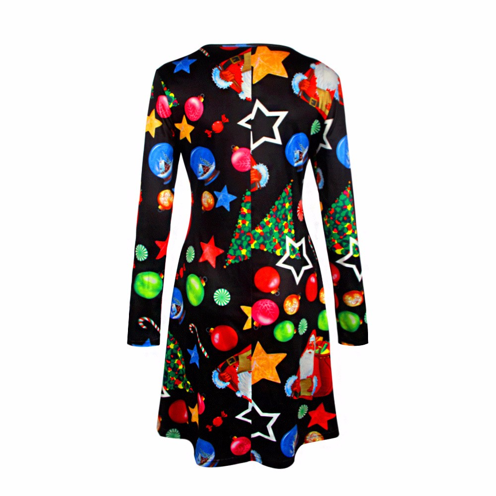 4XL 5XL Big Size Casual Print Cartoon Christmas Tree Cute Loose Dress Autumn Winter A-Line Dresses 18 Plus Size Women Clothing 13
