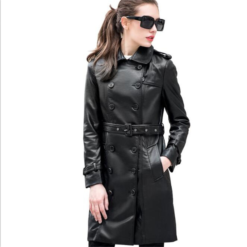2017 spring jacket women long trench coat pu faux leather jackets perfecto femme cuir black long. Black Bedroom Furniture Sets. Home Design Ideas