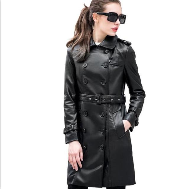 long leather coat womens han coats. Black Bedroom Furniture Sets. Home Design Ideas
