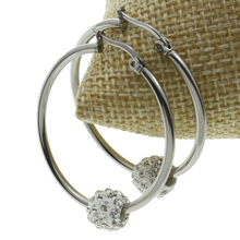 Stainless Steel Hoop Earring,Factory Price, with Rhinestone Clay Pave, oril color, 34x38x9mm glue stainless steel pressure tank with factory price