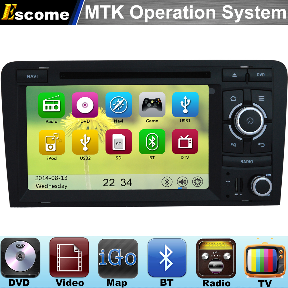 MTK3360 Car DVD Automotivo For Audi R3 Audi RS3 AUDI A3 2003 2004 2005 206 2007 2008 2009 2010 2011 with Radio Stereo GPS Navi