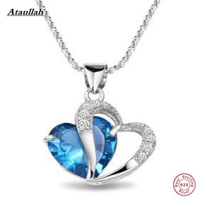 Real Natural Crystal 925 Sterling Silver Link Chains Necklaces Pendants for Women Sterling-Silver-Jewelry Brand Ataullah SSN003