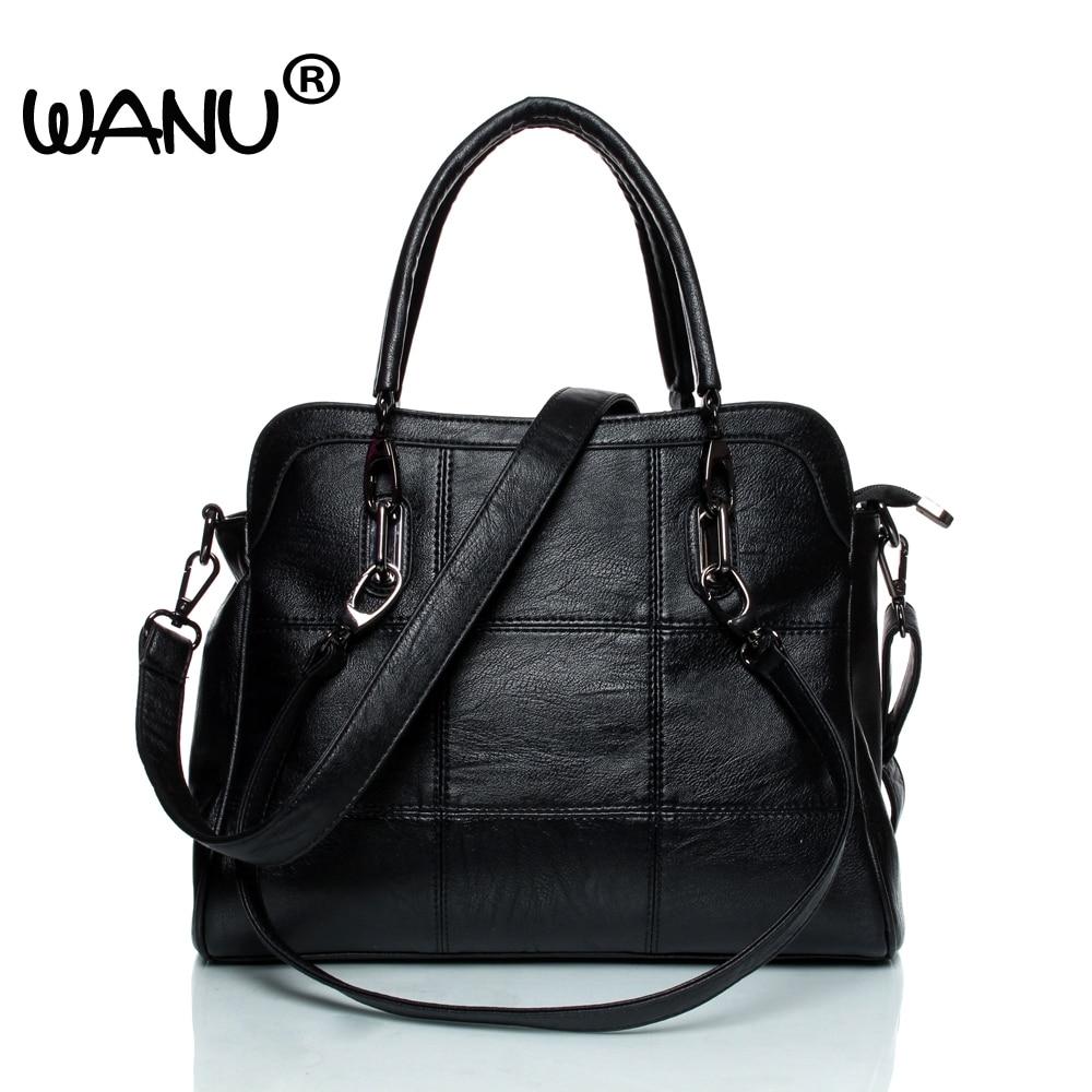 2017 Leather Women's Handbag, Sheepskin  Female Shoulder Bag Black  Fashion Tote