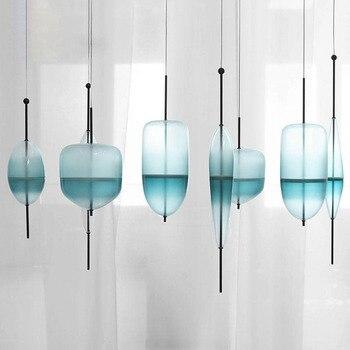 LED Art decó Huse gradiente de vidrio decoración del hogar comedor colgante luz gradiente lago Azul Color cristal luz Café Bar luz