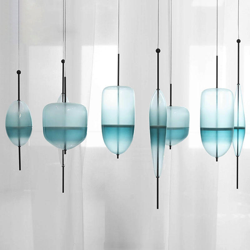 цена на LED Art deco Huse Gradient glass Home Decoration Dining Room Pendant light Gradient Lake Blue Color Glass Light Cafe Bar Light