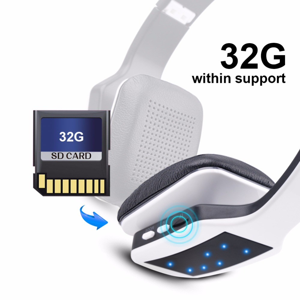 ihens5 wireless bluetooth Headset foldable sport wireless headphones with built in MP3 player fm receiver SD card mic for phone 6