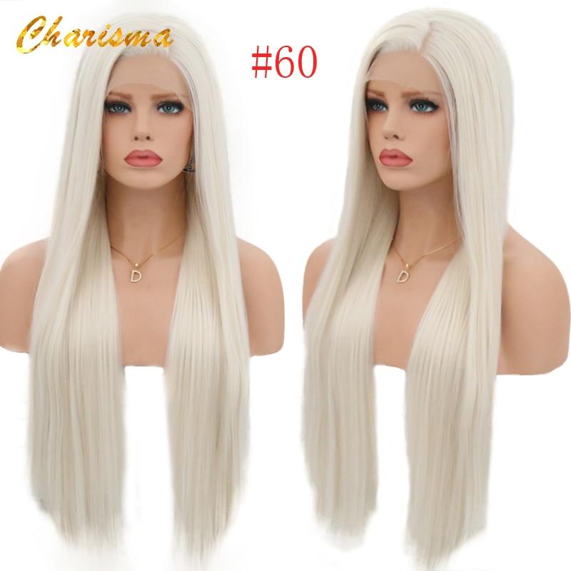Peruca loira perucas resistentes ao calor com perucas naturais da linha fina para mulheres carisma perucas sintéticas de seda do laço do cabelo reto #60
