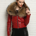 Luxury Women's Natural Real Genuine Leather Sheepskin Coat Jacket with Large Raccoon Fur Collar Red Yellow Black Plus Size XXXL
