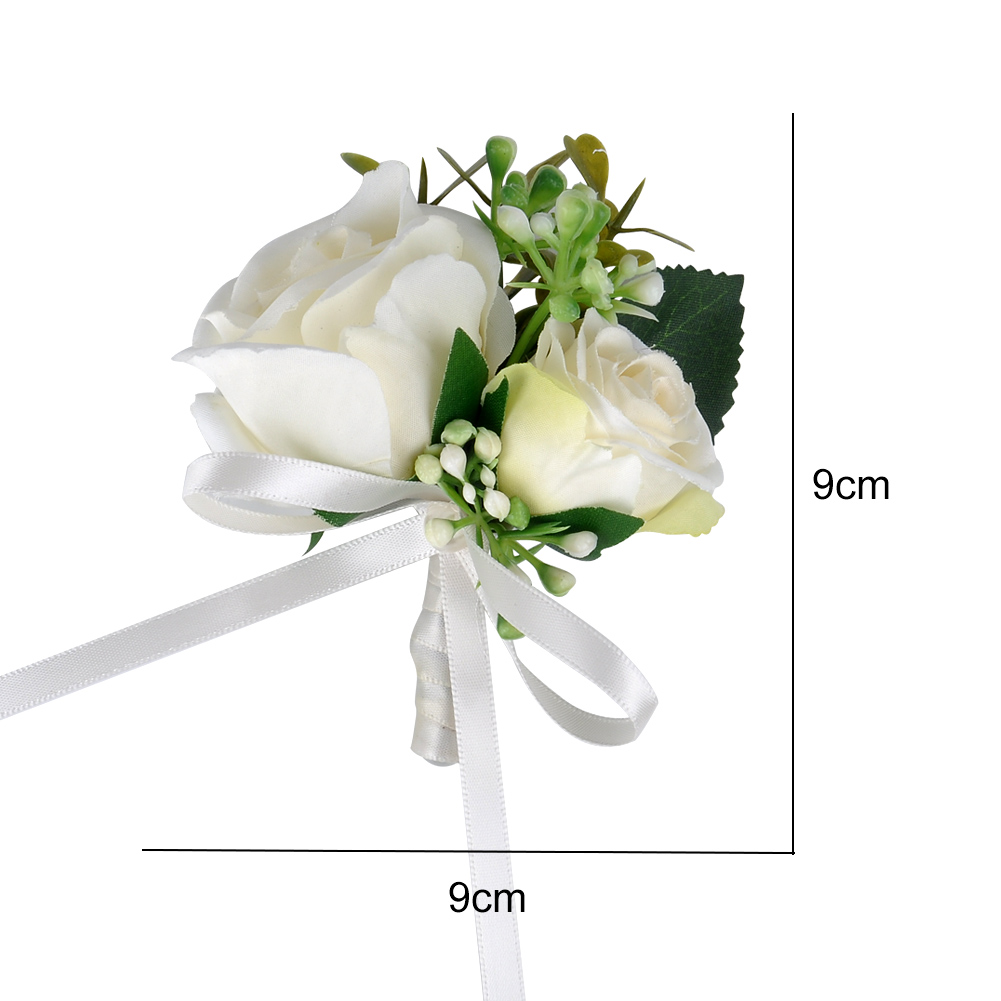 Silk Beige Flower Groom Boutonniere Bridal Wedding Decor Mariage Corsage Brooch Flower for Best Man in Artificial Dried Flowers from Home Garden