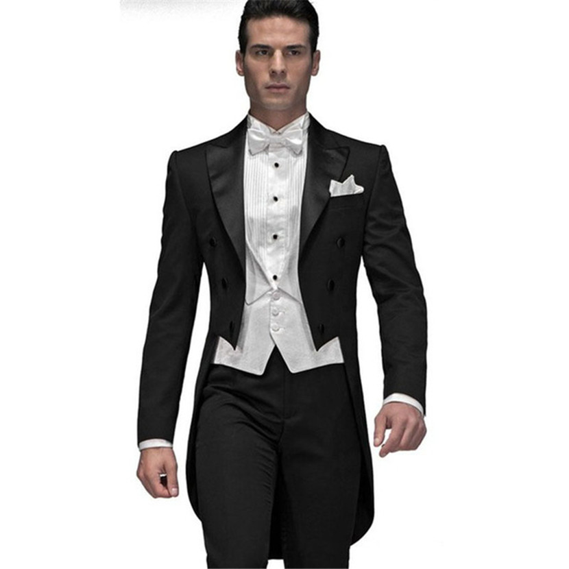 Custom Made Black Groom Men Suit Tailcoat 2018 Terno Slim Fit Groomsman Mens Wedding Prom Suits (Jacket+Pants+Vest+Bow Tie)