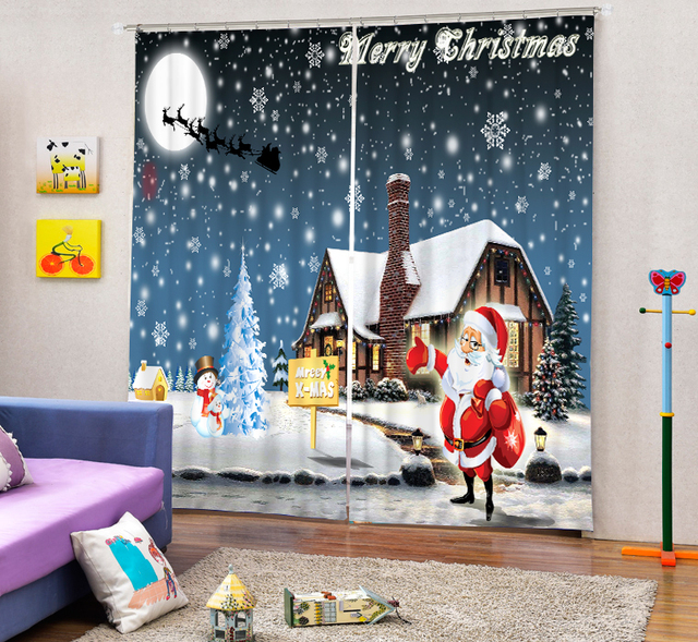 Christmas Decorative Luxury 3D Blackout Window Curtains For Living Room  Bedding Room Drapes Santa Claus Cotinas Part 90