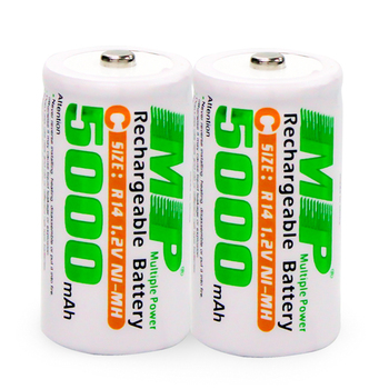 MP 2PCS 1.2V 5000mAh Large capacity Rechargeable battery strong Power NI-MH batteries C size:R14 Deep Cycle Rechargeable batter Rechargeable Batteries