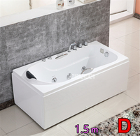 1.5 M Acrylic Bathtubs With Bath pillow and Faucet A1505 Freestanding Whirlpool Single Adult Bath tub Surfing Massage Bathtub