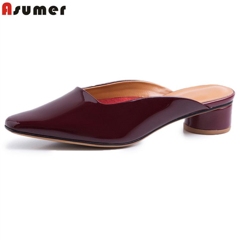 ASUMER 2019 fashion hot sale new shoes woman square toe shallow genuine leather shoes med heels shoes mules shoes big size  ASUMER 2019 fashion hot sale new shoes woman square toe shallow genuine leather shoes med heels shoes mules shoes big size