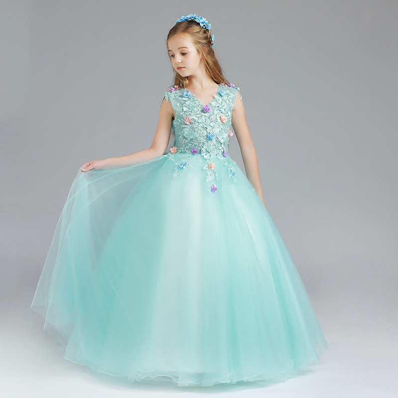 New Kids Girls Exquisite First Holy Communion Dresses Girls Birthday Party Wedding Long Prom Gowns dresses for Children Clothing