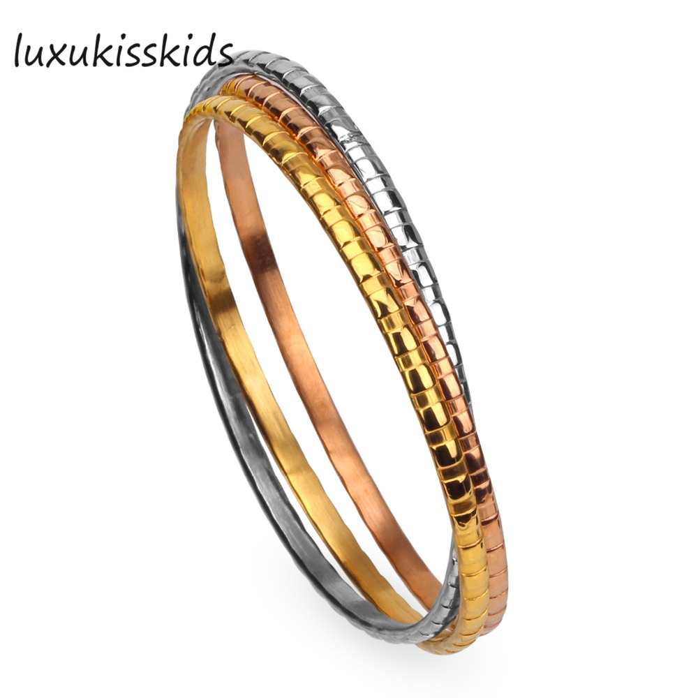 LUXUKISSKIDS Yellow Gold/Rose Gold Color bracelet bangles (3pcs/set),Surface with grooves
