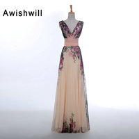 Hot Sale Fashion V Neck Flower Pattern Floral Print Chiffon Long Evening Dress Gown Special Occasion