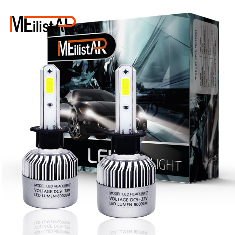 2Pcs S2 H1 LED Bulb Super Bright Auto Car Headlight 72W 8000LM 6500K 12V 24V Single Beam ...