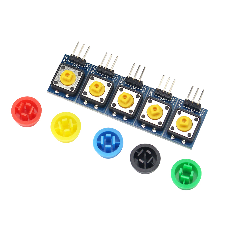 5 Pcs Raspberry Pi 3 Switch Key Module 11 X 13 Highly Sensitive Switch Button + 5 Color Hat For  Raspberry Pi 3 ARM SCM