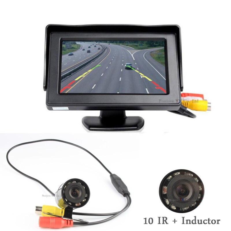 Koorinwoo Parking 4.3 Color TFT Display Monitor Video Input CCD 10 IR LED night vision Reverse Backup Waterproof Rearview camera