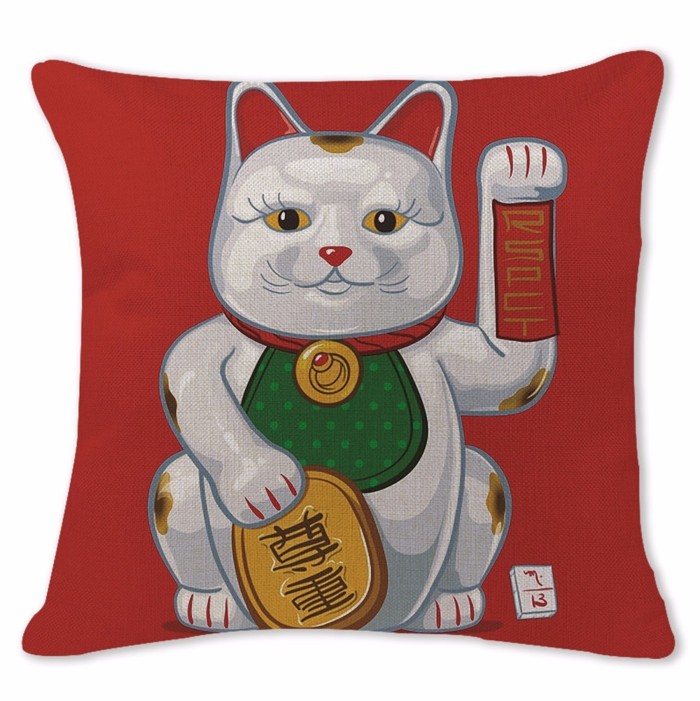 Customized Cushion Covers Cartoon Animal Lucky Cat Pillow Cases Chair Sofa Large Cotton Linen Lounger For Beach Green Almofada