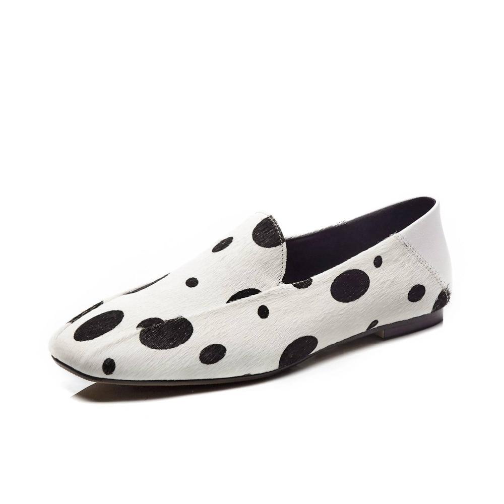 Ayakk.'ten Kadın Topuksuz Ayakkabı'de Krazing Pot lüks horsehiar malzeme loafer'lar üzerinde kayma kare ayak büyük boy bale ayakkabıları kalma Bahar clubwear günlük ayakkabı L05'da  Grup 2