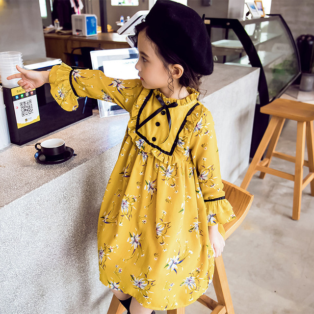 Princess Children Dresses Long Sleeve Yellow Dress for Toddler Girl Teenage Girl Kids Dress Size 4 6 8 10 12 14 years