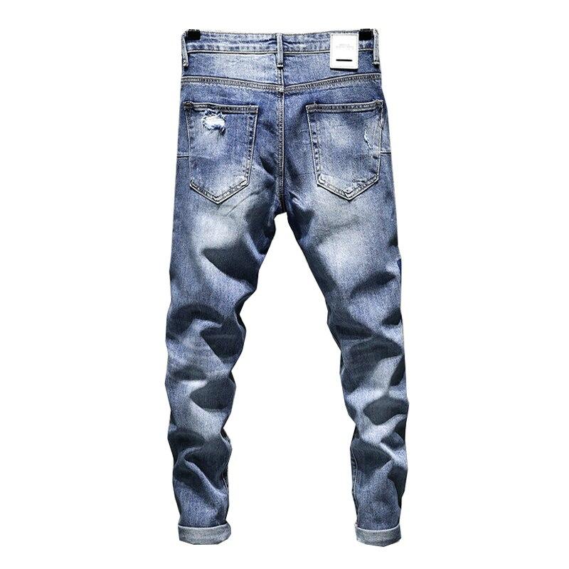 KSTUN Skinny Stretch Jeans Men Summer Biker Moto High Street Contrast Color Blue Male Ripped Jeans Distressed Tapered Slim Leg 14