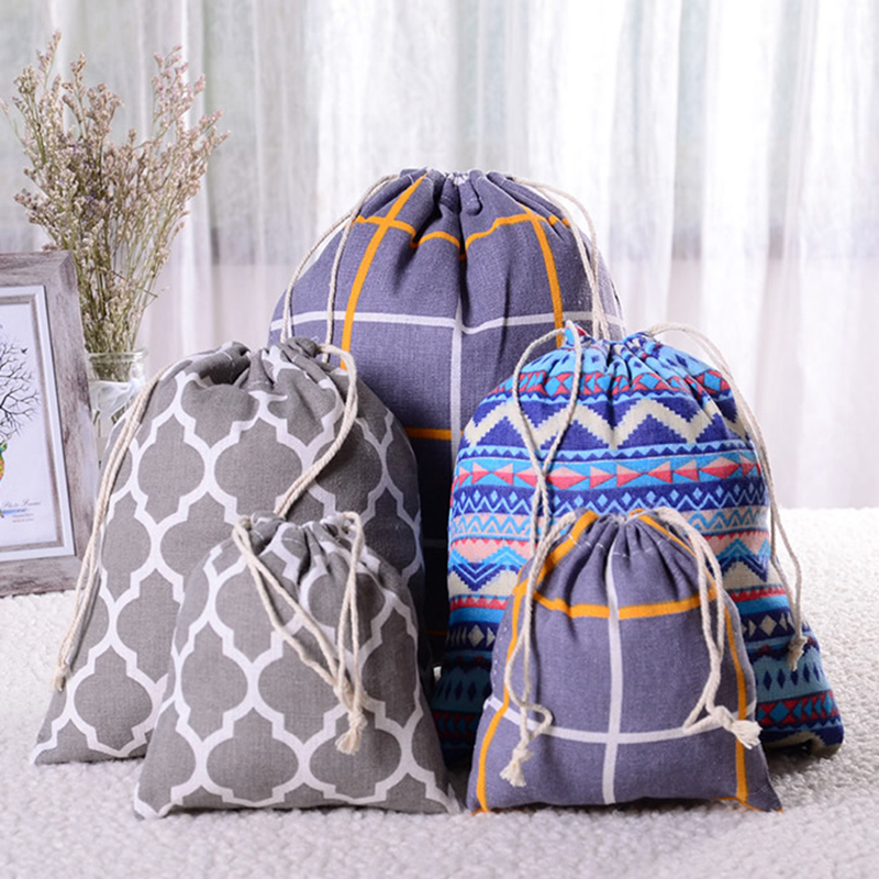 Fashion Travel Accessories Cotton Linen Drawstring Makeup Bag Lattice Packing Organizer Clothes Toiletry Sundries Storage Pouch
