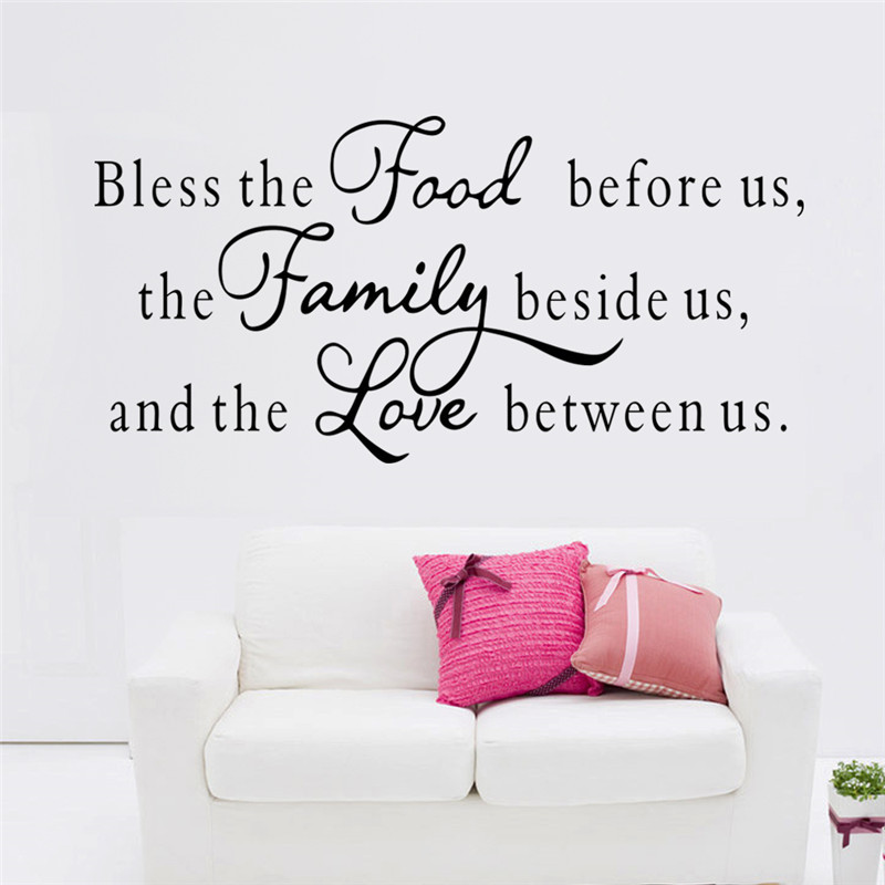 Bless The Food Before Us Family Love Between English Saying Wall Stickers Living Room Bedroom Quotes Decal Home Decor