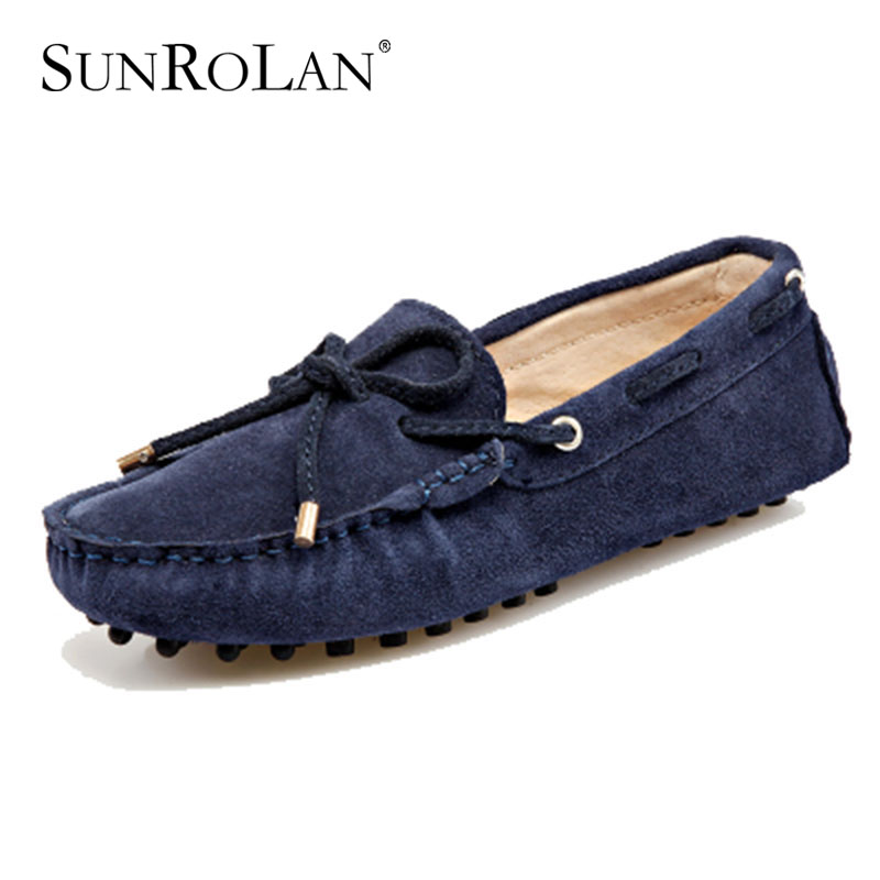 SUNROLAN Brand Fashion Summer Style Soft Moccasins Men Loafers High Quality Genuine Leather Shoes Men Flats Gommino Driving G002 2017 new brand breathable men s casual car driving shoes men loafers high quality genuine leather shoes soft moccasins flats