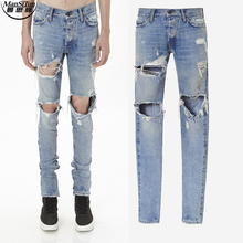 Man Si Tun Kanye west denim jumpsuit designer clothes rockstar justin bieber ankle zipper destroyed skinny ripped jeans for Men