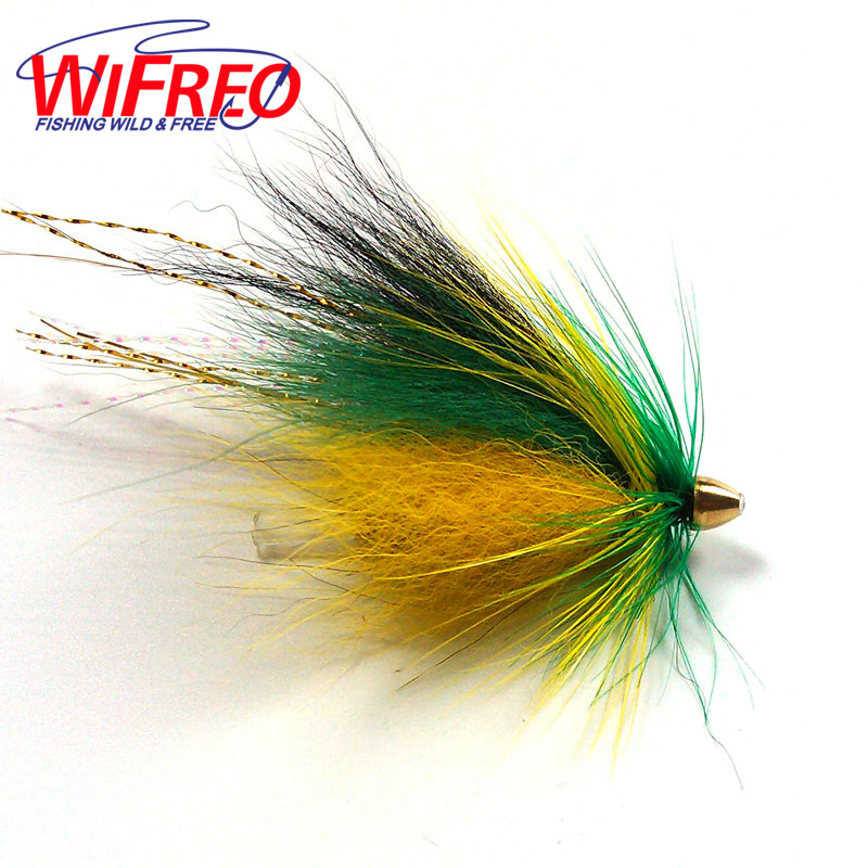 [4PCS] Steelhead Salmon Plastic Tube Fly Green & Orange Color Fishing Lures Flash Tail