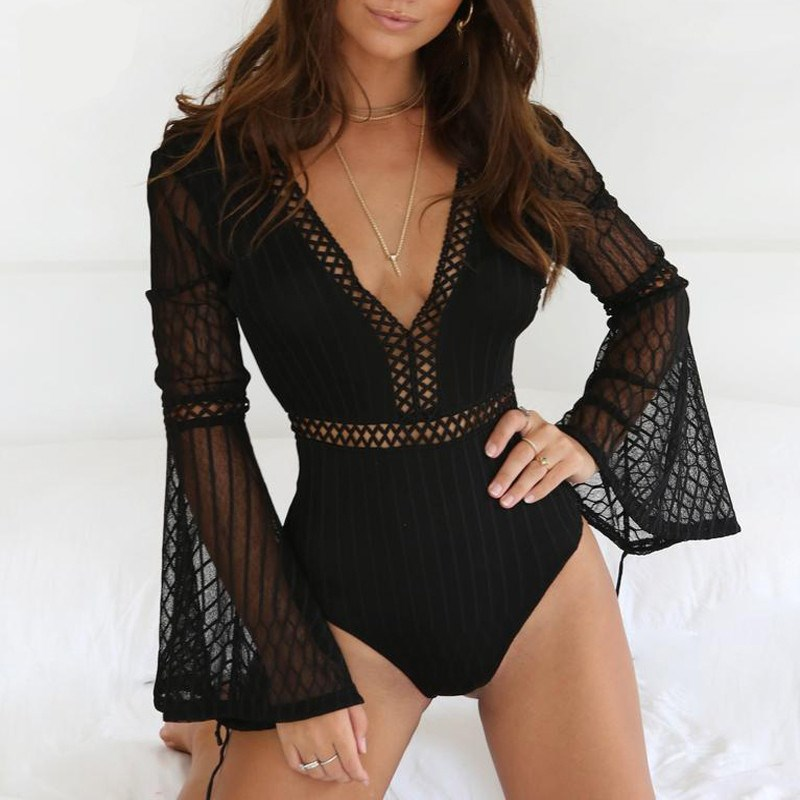 2019 Fashion Women Hollow Out Sexy   Jumpsuit   V-neck Mesh Lace Playsuits Solid Flare Sleeve Summer Rompers
